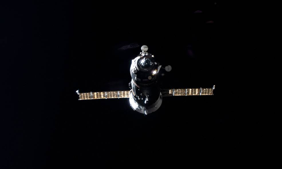 The uncrewed ISS Progress 77 resupply ship pictured approaching the International Space Station