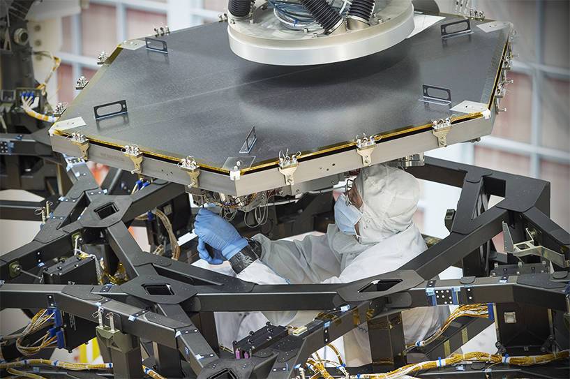 James Webb Space Telescope mirror being installed