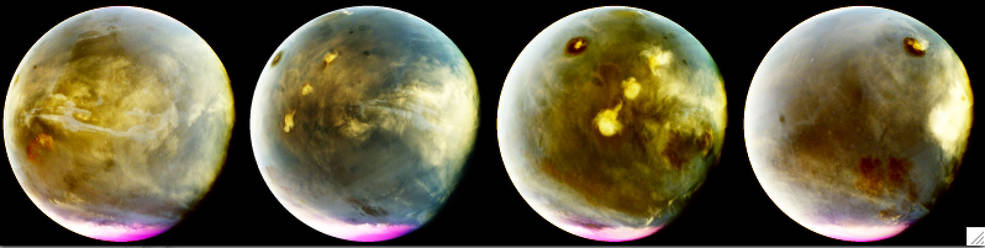 Series of MAVEN images showing cloud formation over Martian volcanoes