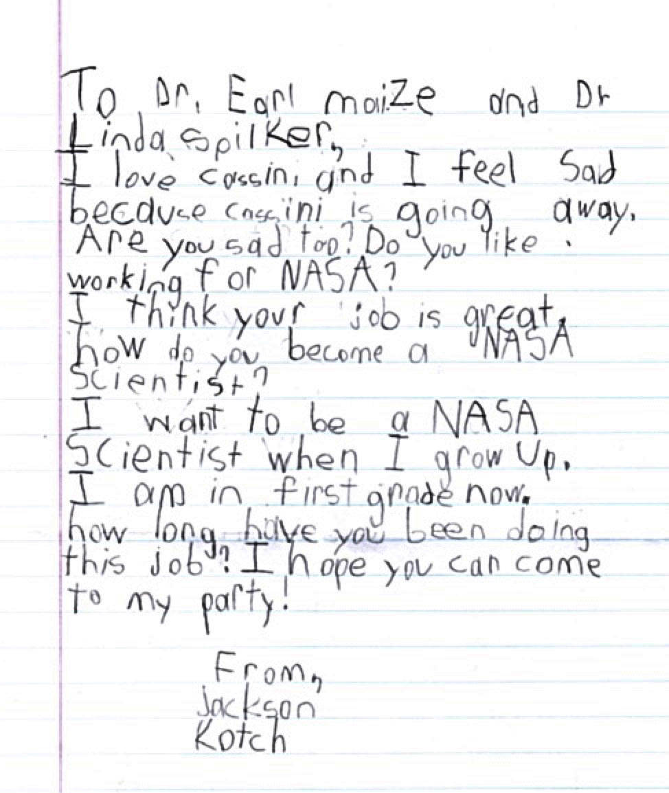 Meet the 6YearOld Hosting a Goodbye Party for Cassini NASA