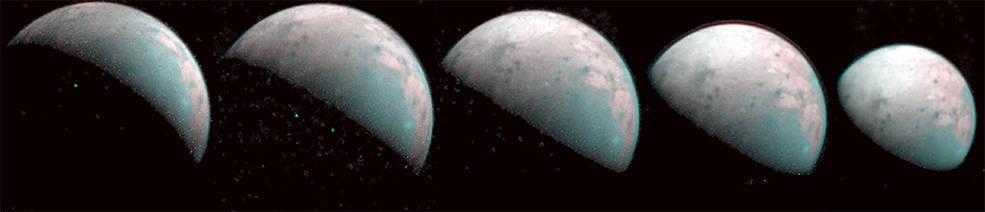 NASA Juno toma las primeras imágenes del Polo Norte de la luna joviana Ganímedes.