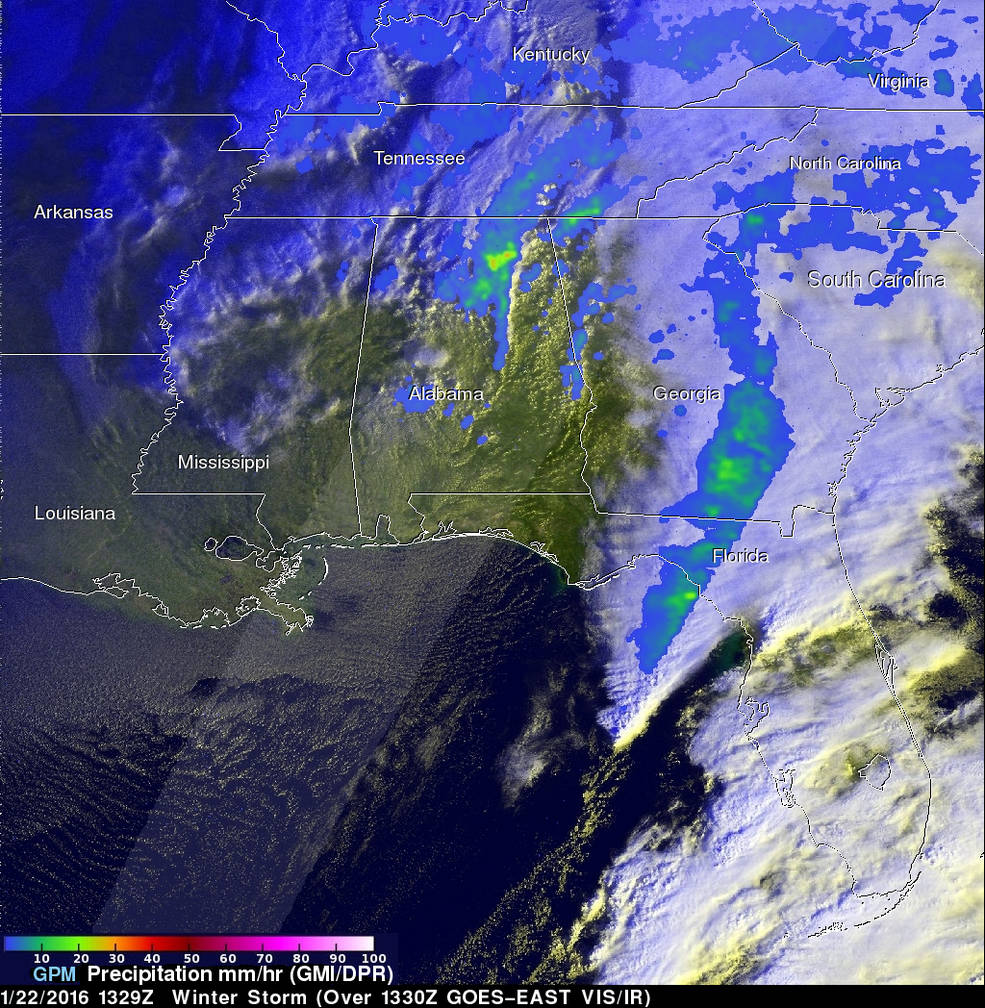 GPM image of Winter Blizzard 2016