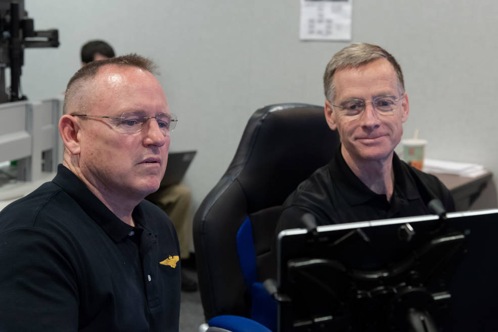 "NASA astronaut Barry ""Butch"" Wilmore, left, and Chris Ferguson"