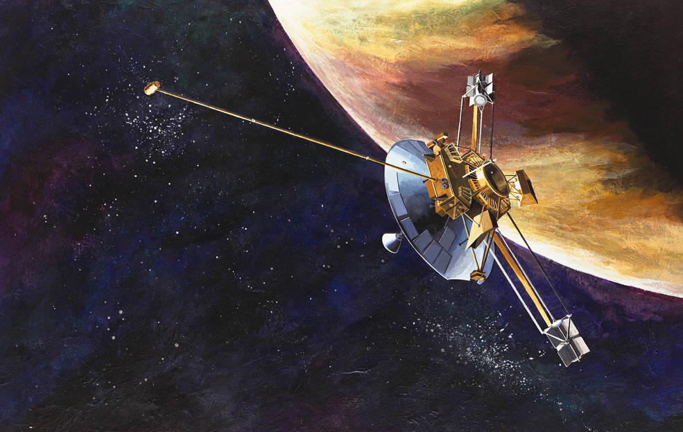 An artist's concept of the Pioneer 10 spacecraft.