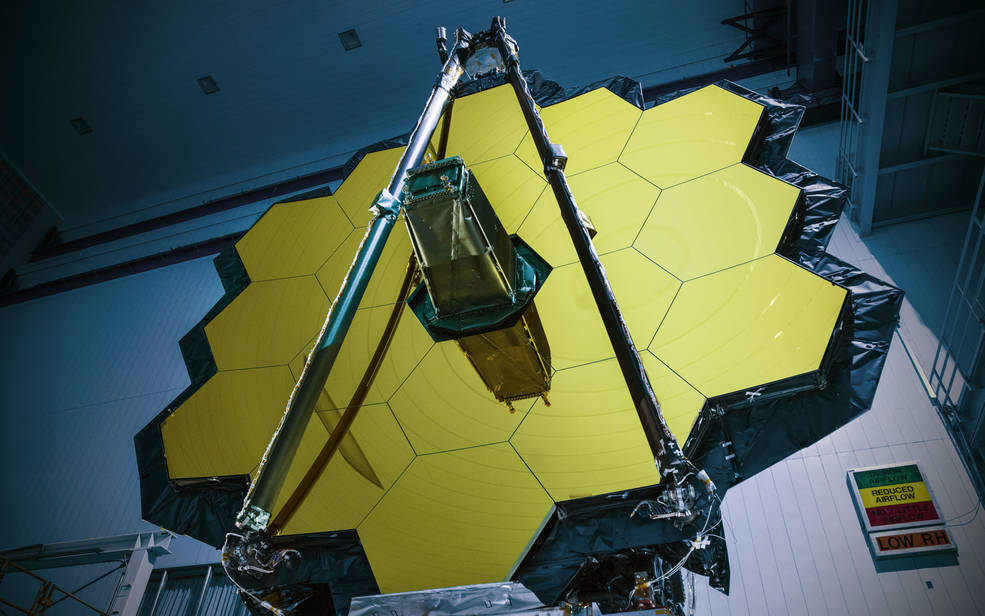 The James Webb Space Telescope completed its environmental testing at NASA's Goddard Space Flight Center in Greenbelt, Maryland. The Webb telescope will be shipped to NASA's Johnson Space Center in Houston for end-to-end optical testing in a vacuum at its extremely cold operating temperatures. Credits: NASA/Chris Gunn