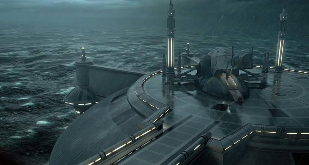 Obi-Wan Kenobi's ship lands on the ocean world of Kamino