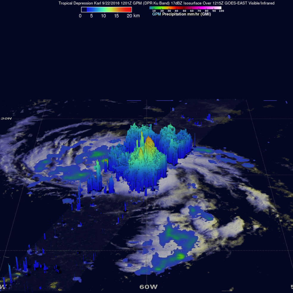 satellite view of tropical storm over ocean with 3D data overlay