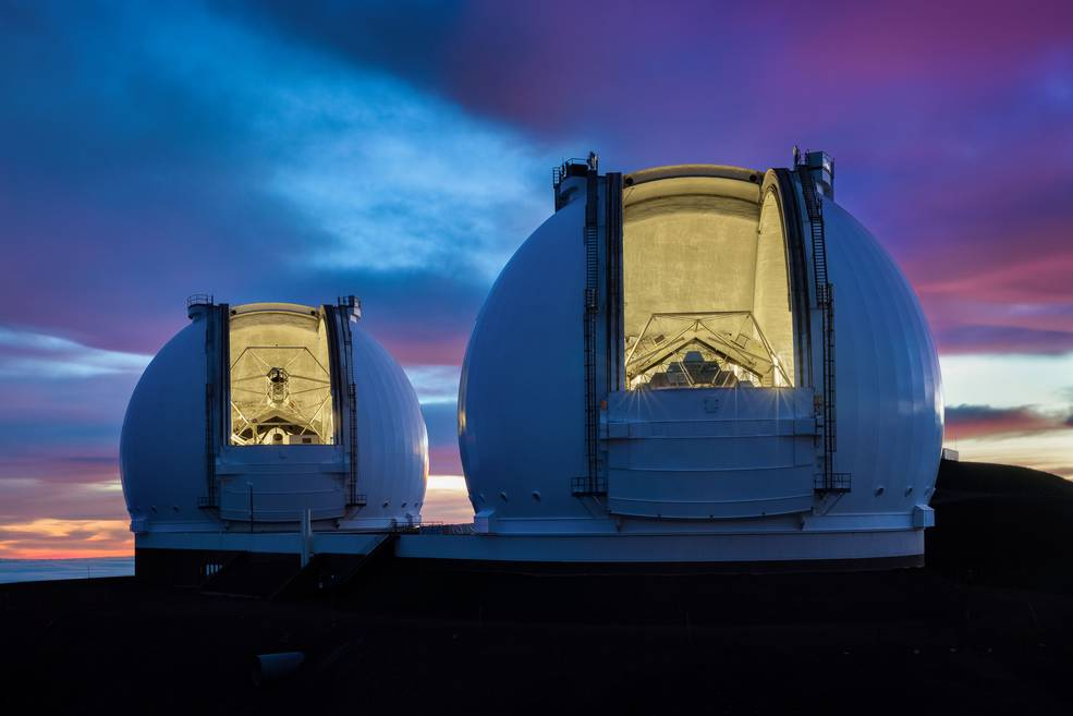 The twin 10-meter Keck Observatory telescopes