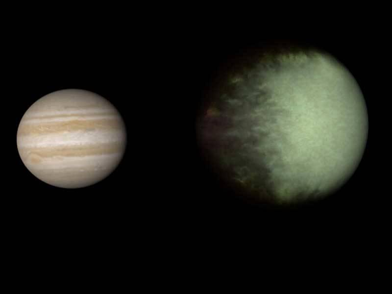 Kepler-7b shown next to Jupiter