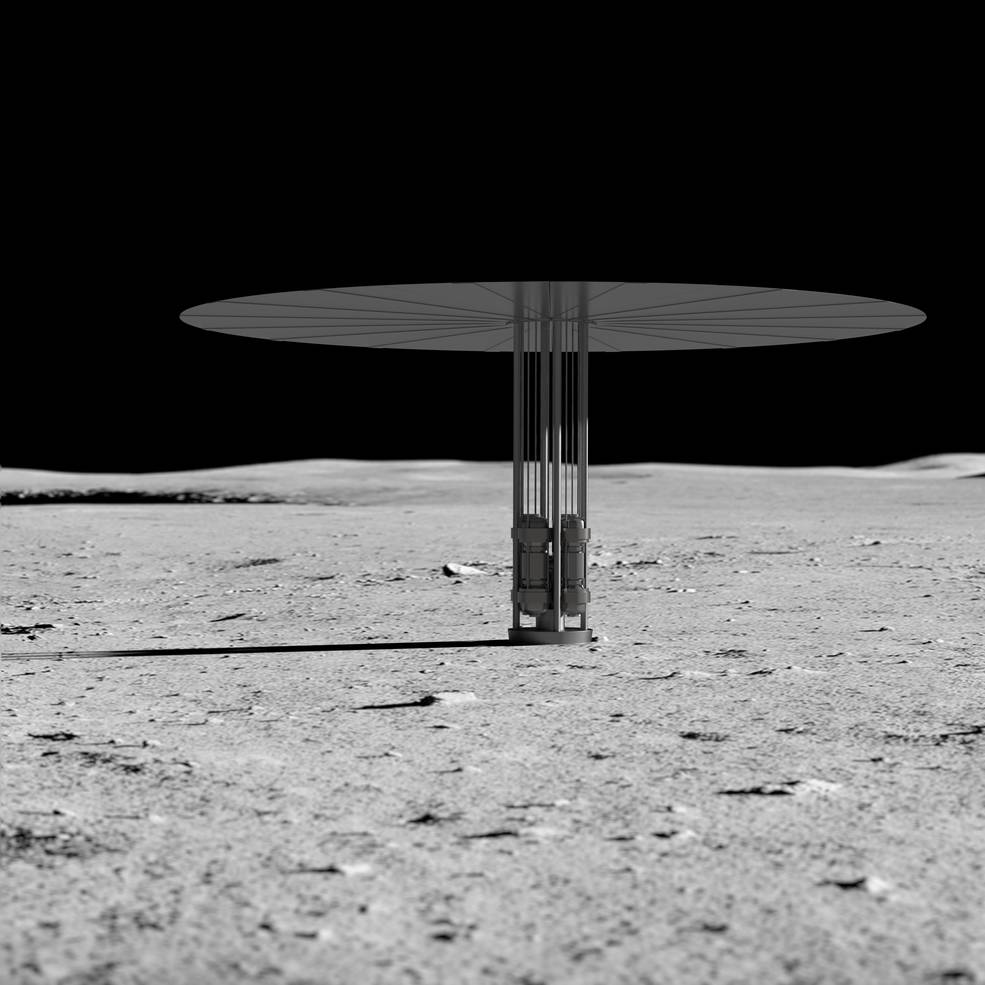 Artist concept of new fission power system on the lunar surface.