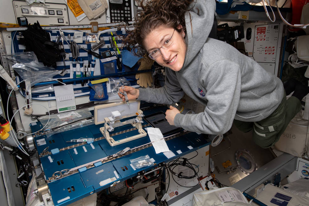 NASA astronaut Christina Koch checks out hardware for the Capillary Structures experiment.