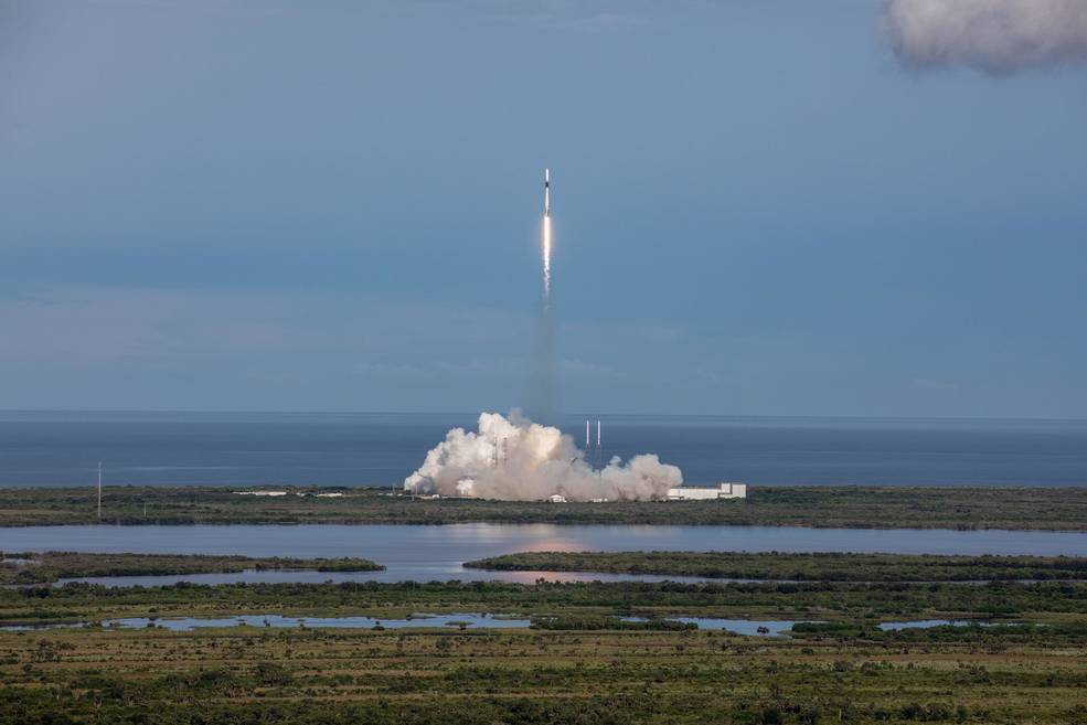 SpaceX Falcon 9 rocket lifts off from Space Launch Complex 40 at Cape Canaveral Air Force Station in Florida