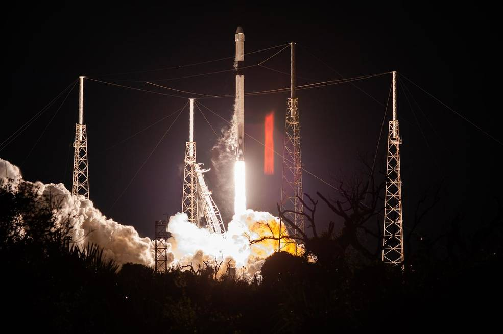 A SpaceX Falcon 9 rocket lifts off from Space Launch Complex 40 at Cape Canaveral Air Force Station in Florida