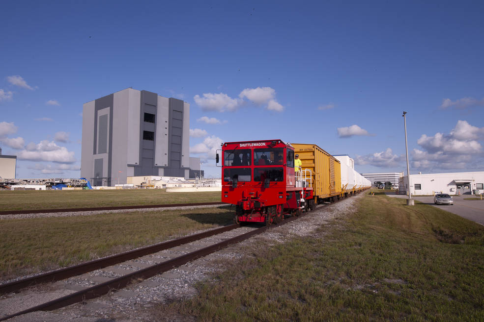 Twin rocket boosters for NASA's Space Launch System (SLS) have arrived at the agency's Kennedy Space Center in Florida