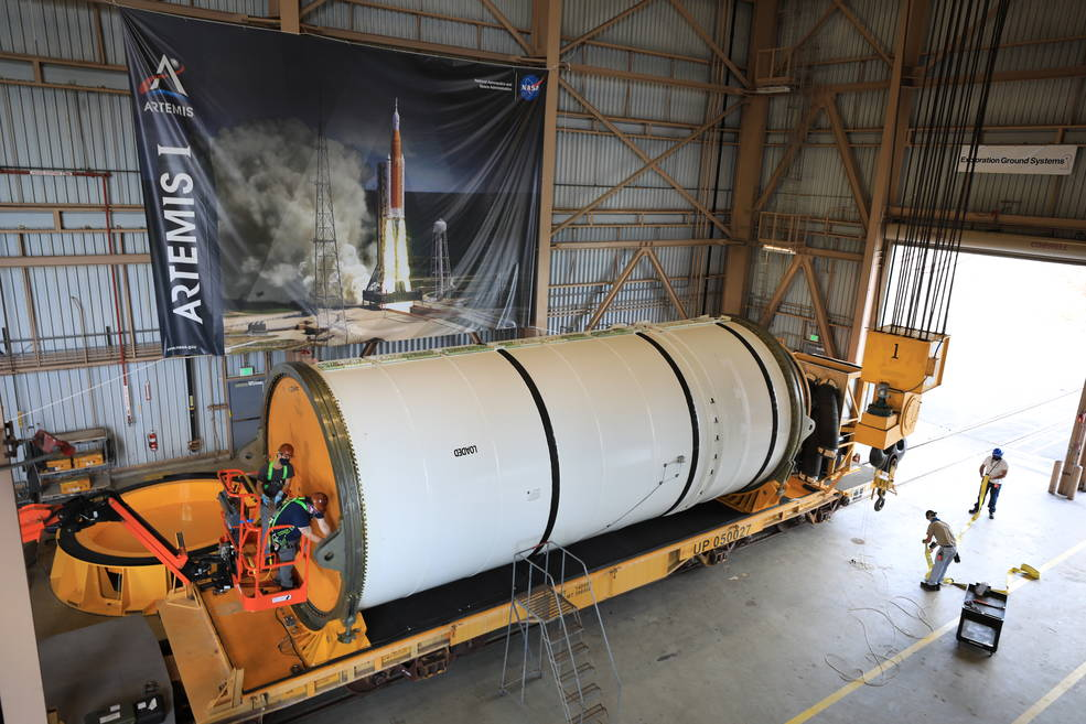 The Space Launch System (SLS) rocket booster segments