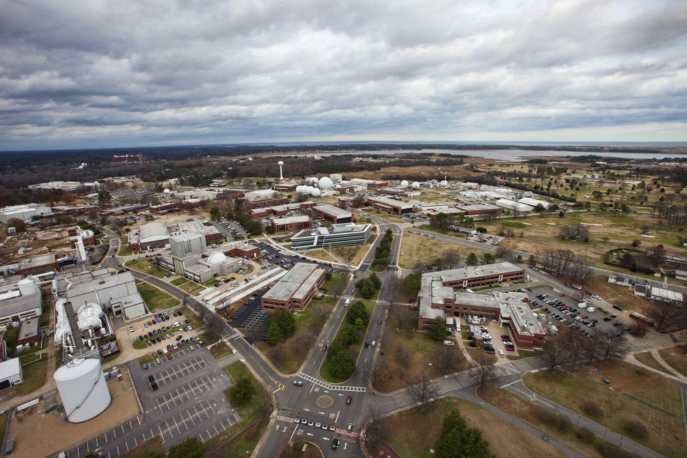 Aerial view of NASA Langley Research Center in Hampton, Virginia
