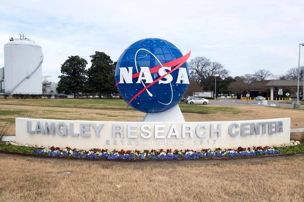 Sign at the entrance of NASA's Langley Research Center in Hampton, Virginia