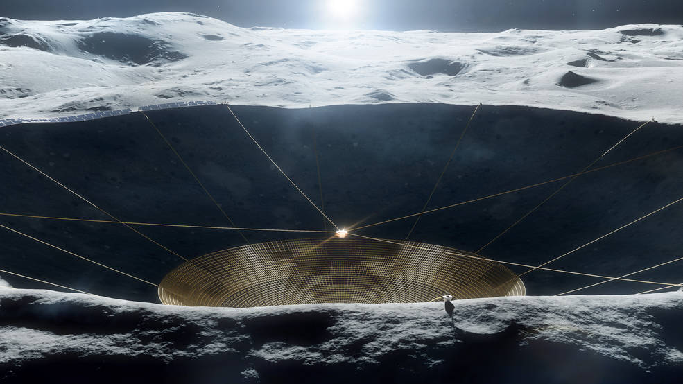 Illustration of a conceptual radio telescope within a crater on the Moon.