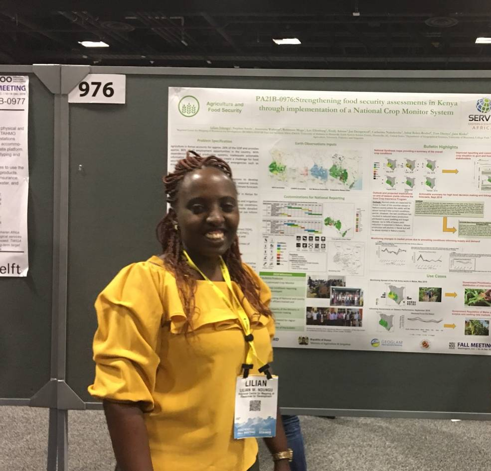 Lilian Ndungu, Agriculture and Food Security Lead for SERVIR's Eastern and Southern Africa hub, attends the 2018 AGU meeting poster session to discuss food security. Credit: Anastasia Mumbi / SERVIR Eastern and Southern Africa
