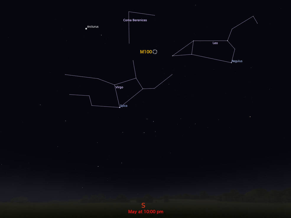 locator star chart for M100
