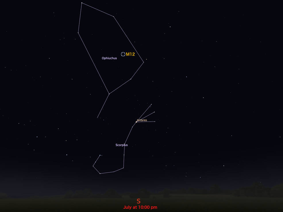 locator star chart for M12