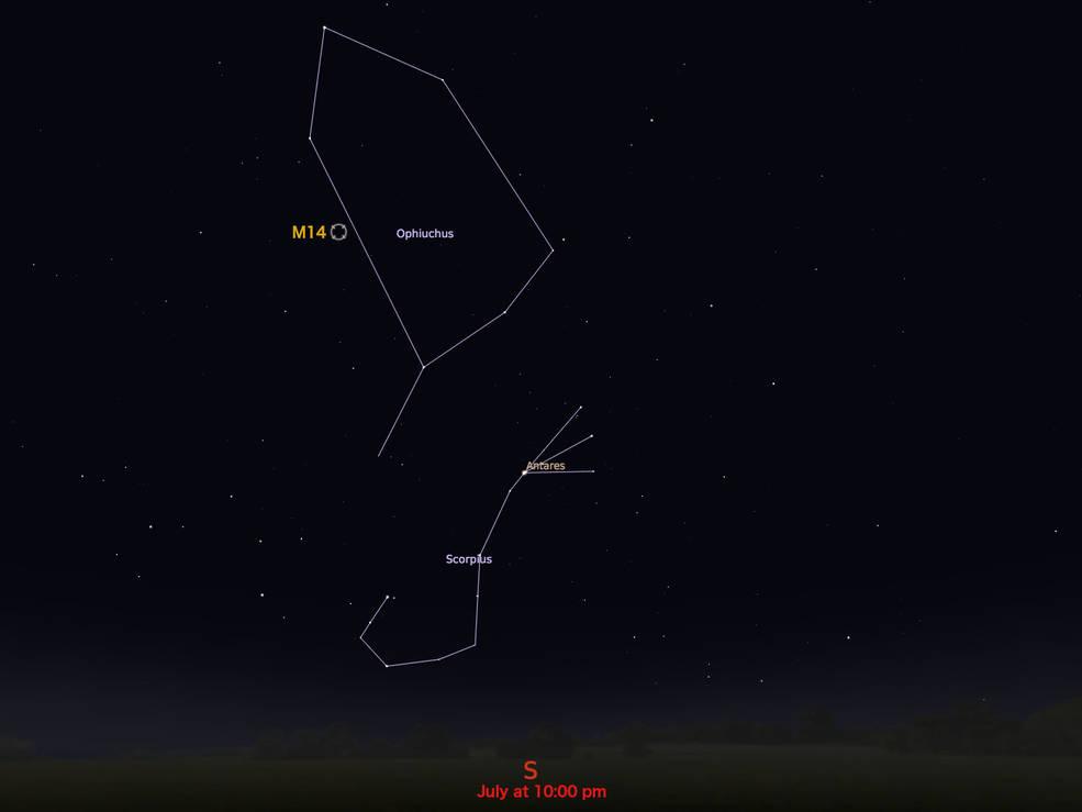 locator star chart for M14