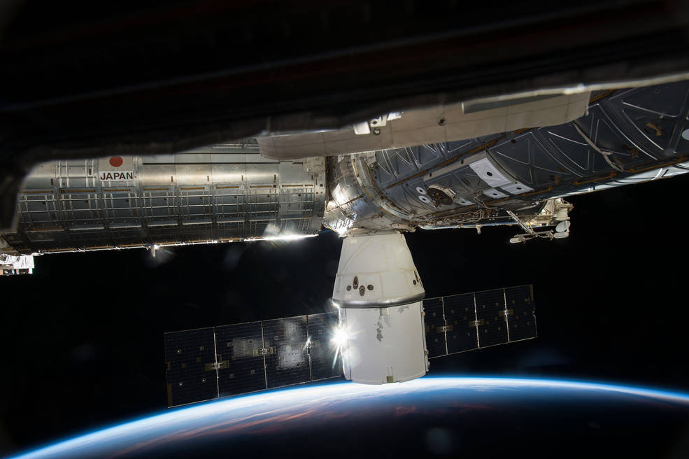 SpaceX's Dragon cargo capsule is seen here docked to the ISS