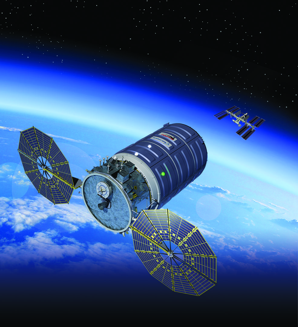 Artist's concept of Orbital ATK's Cygnus spacecraft in orbit.