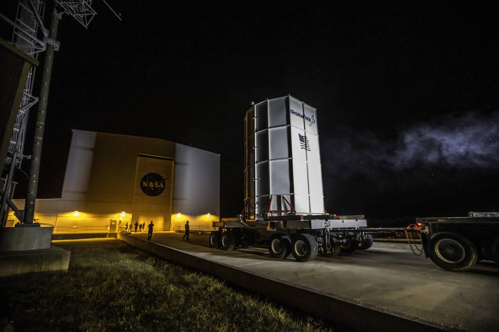 Orbital ATK's Cygnus spacecraft arrived on Oct. 2, 2016 at the Horizontal Integration Facility at NASA's Wallops Flight Facility