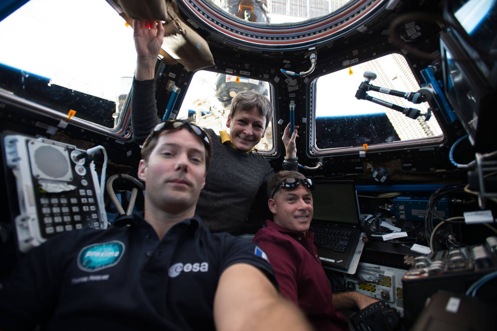Expedition 50 crew members Thomas Pesquet of ESA (European Space Agency) and Peggy Whitson and Shane Kimbrough of NASA