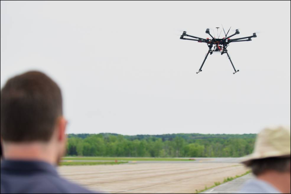 Pictured is one of the drones being tested at the FAA UAS Test Site in New York during NASA's three-week UTM flight campaign.