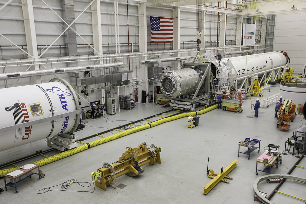 Orbital ATK's Antares rocket for the CRS-8 mission is being integrated in the Horizontal Integration Facility at NASA's Wallops