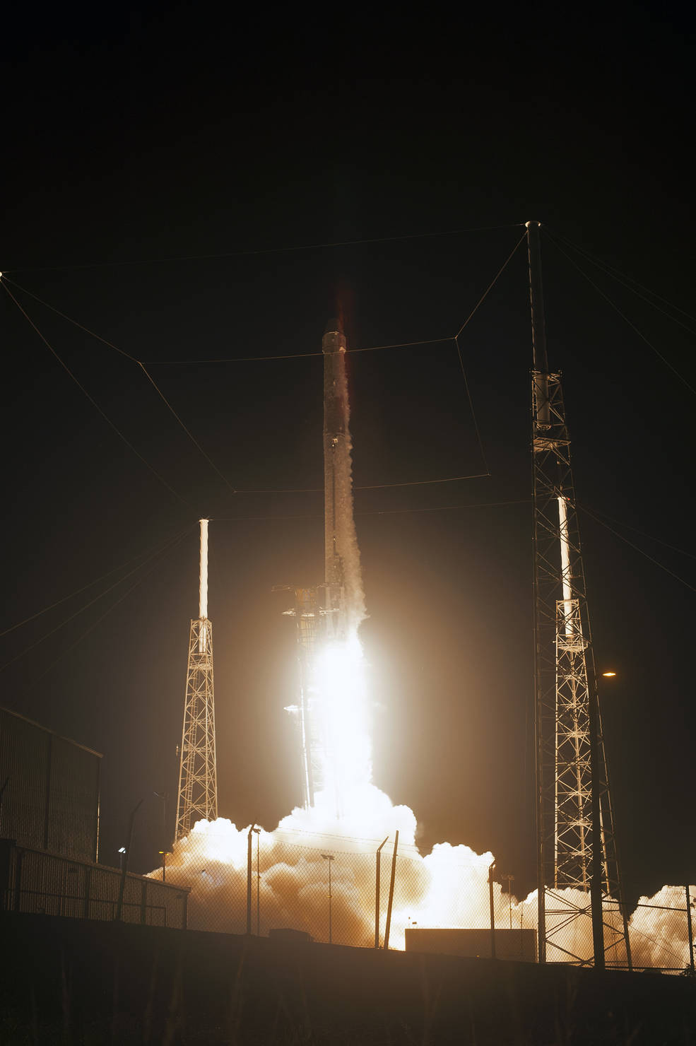A two-stage SpaceX Falcon 9 launch vehicle lifts off from Space Launch Complex 40 at Cape Canaveral Air Force Station in Florida