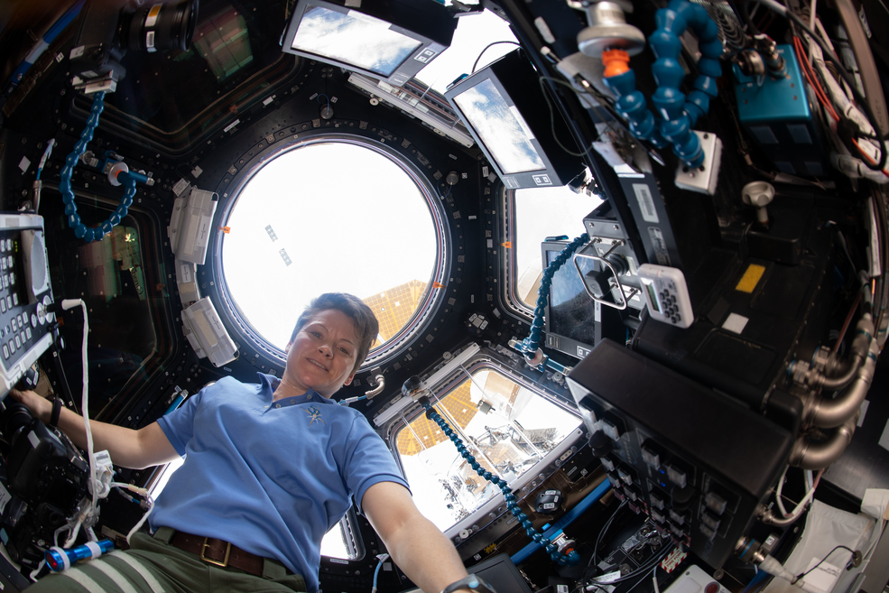 Expedition 58 Flight Engineer Anne McClain in Cupola module during SpaceX Dragon departure