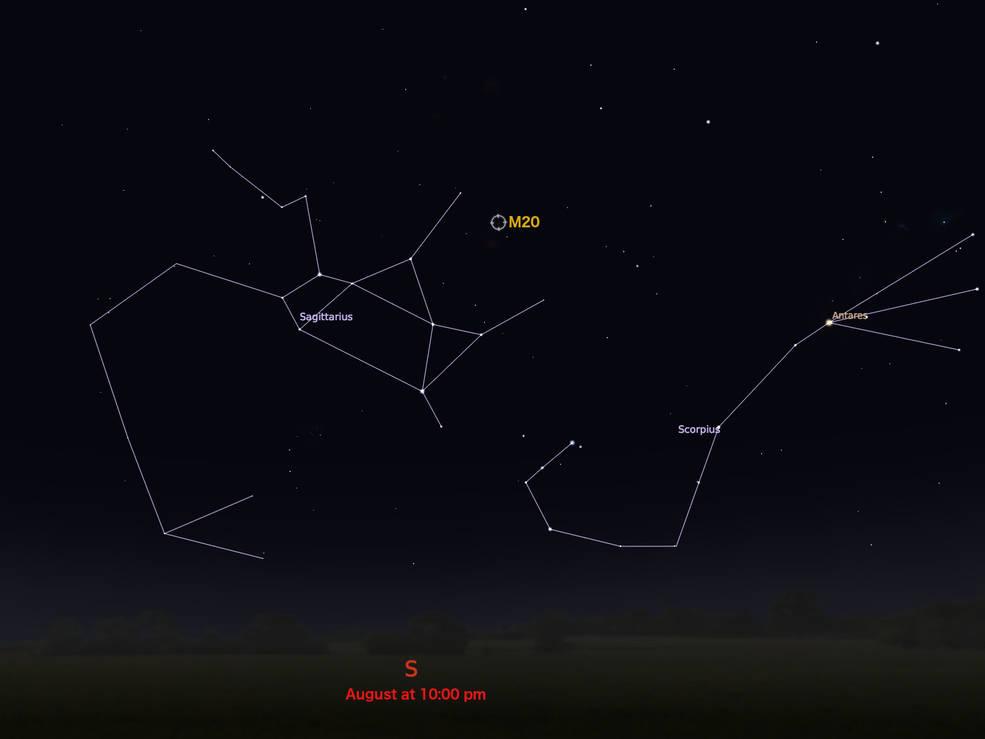 locator star chart for M20