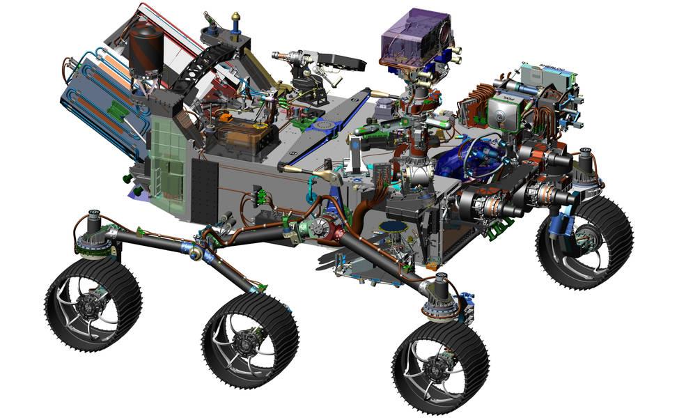 Hình ảnh thiết kế bởi sự trợ giúp của computer thêm vào các thiết bị mới để thực hiện nhiệm vụ đặc biệt của 2020 trên sao Hỏa
