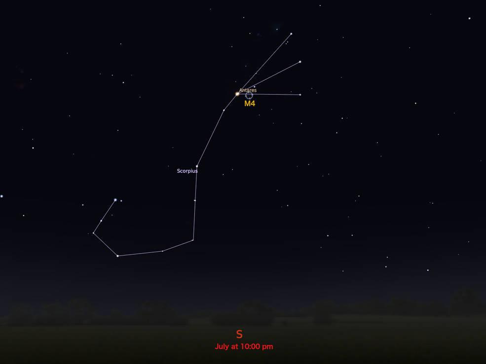 locator star chart for M4