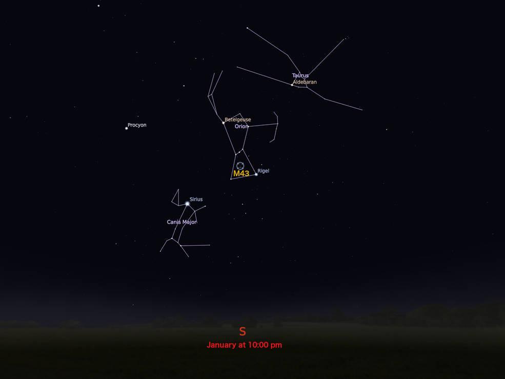 locator star chart for M43