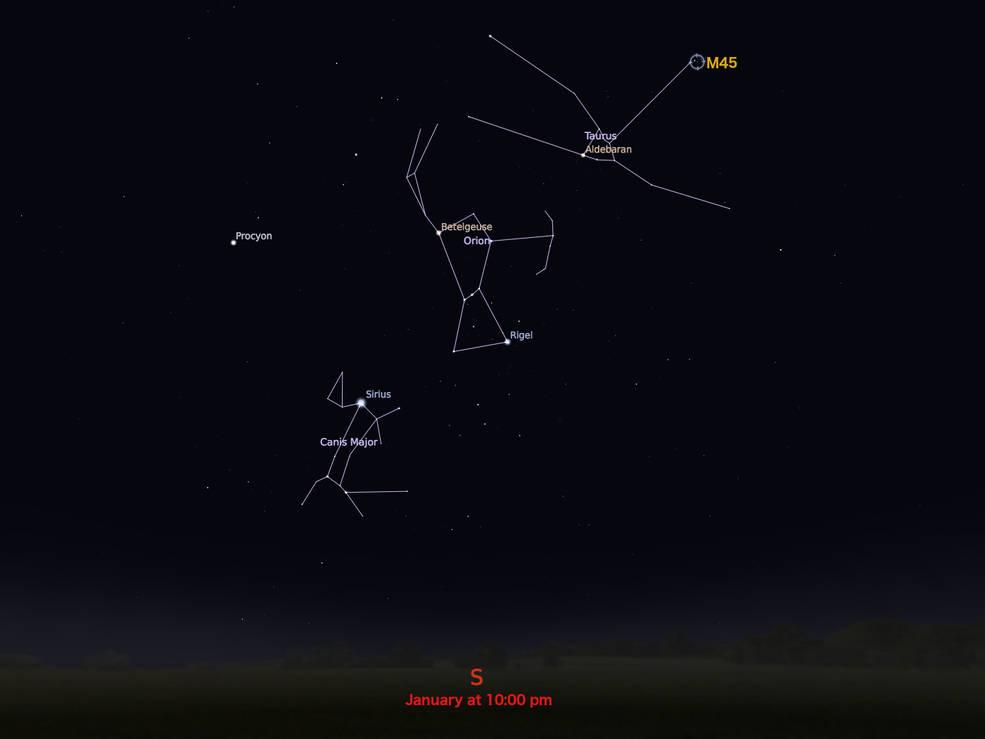 locator star chart for M45
