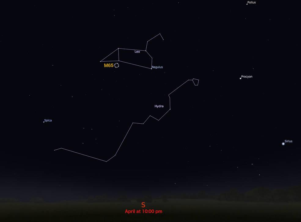locator star chart for M65