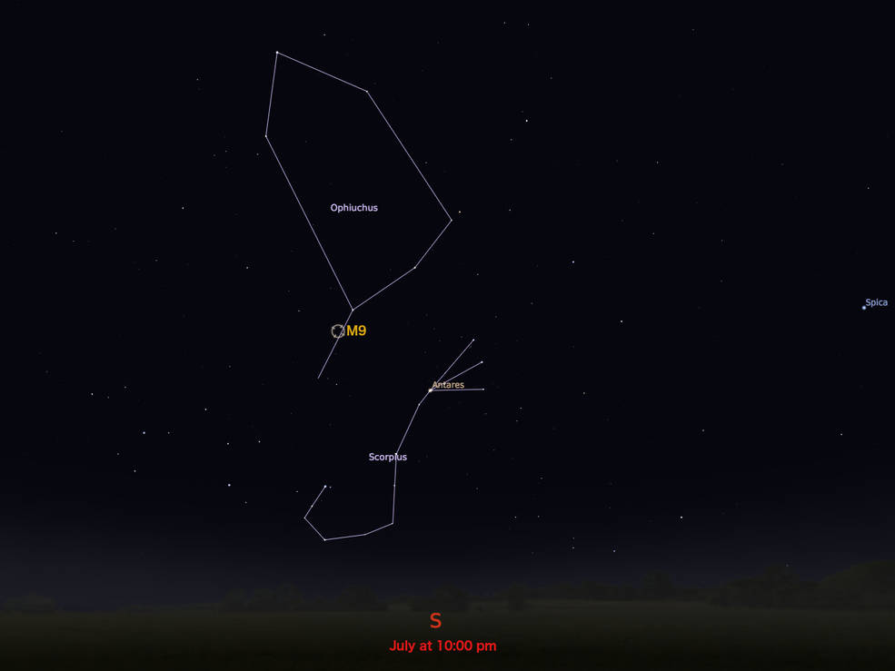 locator star chart for M9