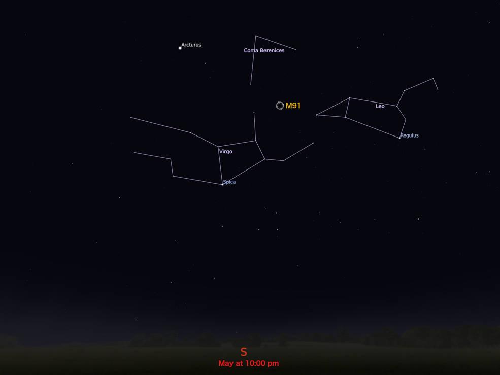 locator star chart for M91