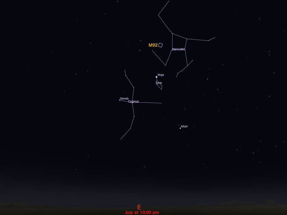 locator star chart for M92
