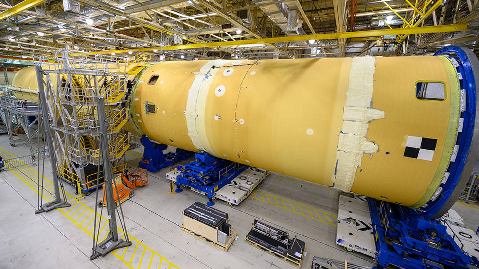 The forward part and liquid hydrogen tank for the core stage of NASA's Space Launch System