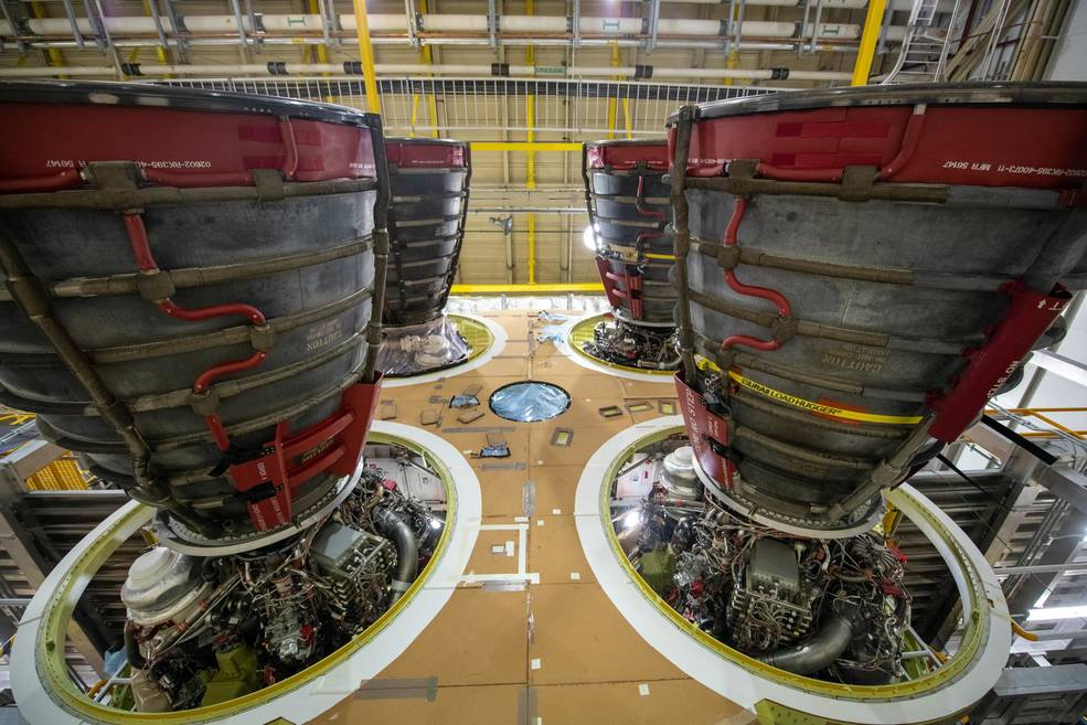 The four RS-25 engines, shown here, are attached to the SLS core stage that will send the Artemis I mission to the Moon.
