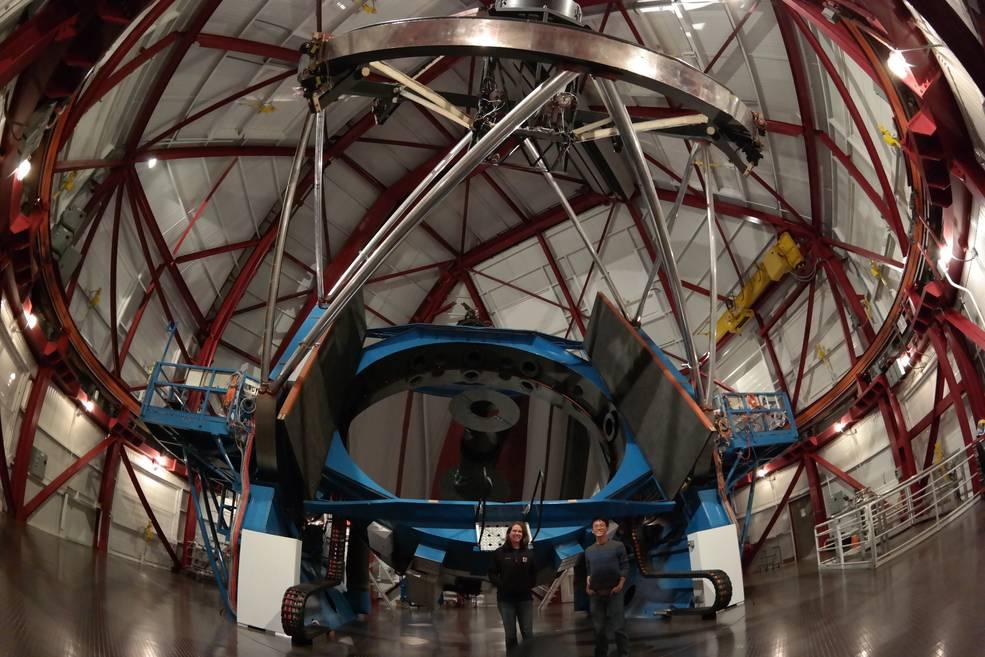 Johanna Teske and Alex Ji at the Magellan II telescope in Chile