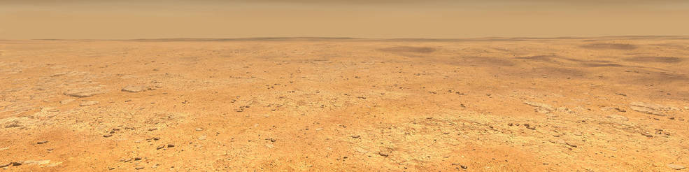 This artist's concept depicts the smooth, flat ground that dominates InSight's landing ellipse in the Elysium Planitia region