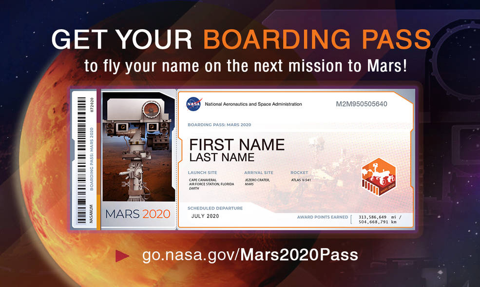 Souvenir boarding passes will display names submitted by the public, which will also be on microchips aboard the Mars 2020 rover