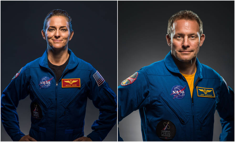 NASA crew members of the SpaceX Crew-5 mission to the International Space Station. Pictured from left are NASA astronauts Nicole Mann and Josh Cassada.