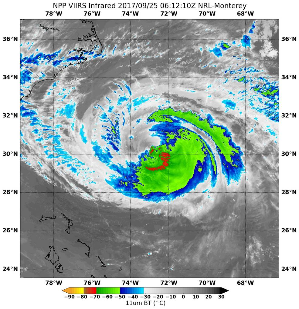Suomi NPP infrared image of Maria